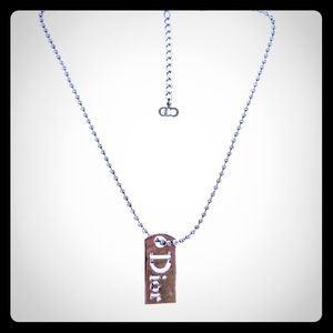 Christian Dior logo tag plate neckless